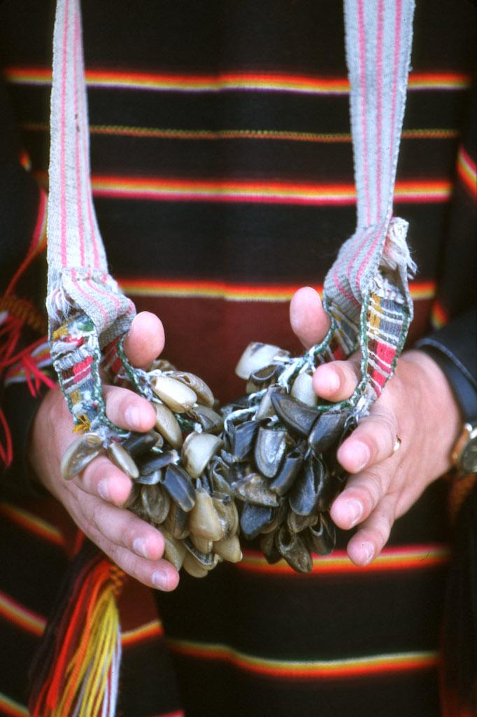 Bolivia, Sucre, Chajetas, músico, pezuñas de Chiva