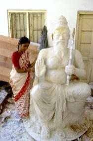 India, Mysore, Fiesta de Dussehra, Karnataka, crean escultura para el desfile, retrato