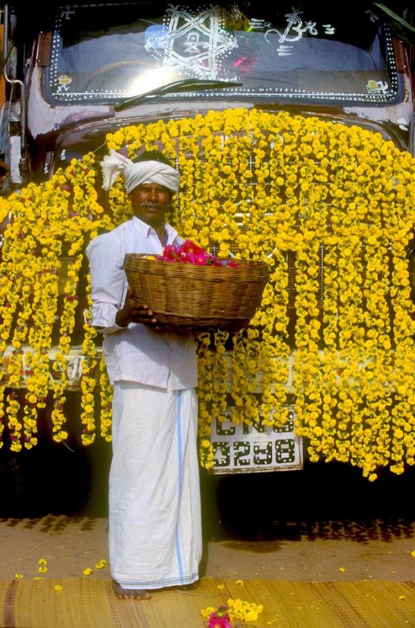 India, Mysore, Fiesta de Dussehra, Karnataka, camiones decorados, transporte, retrato