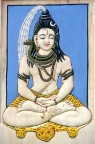 India, Uttar Pradesh, Delhi, bajo relieve del templo Lakshmi Marayan