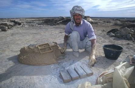 Túnez, oasis de dunas, Tozeur, fabrica de ladrillos, retrato, trabajo