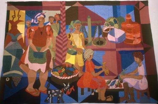 Cabo Verde, Isla Sao Vicente, Mindelo, tapicería, obra de Bella Duarte
