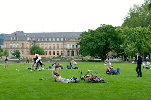 Alemania, Baden-Wurtemberg, Stuttgart, jardines del plalacio