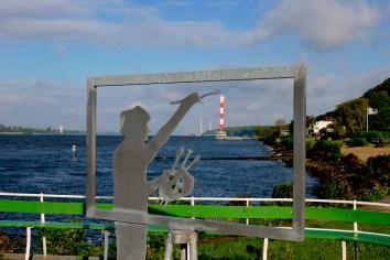 Alemania, Hamburgo, Balneario Blankenese, río Elba, escultura