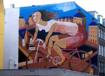 Dinamarca, Copenhague, Mural, bicicleta