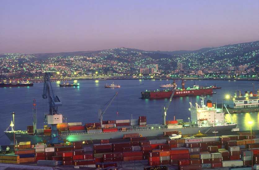 Chile, Valparaiso, Puerto, nocturno