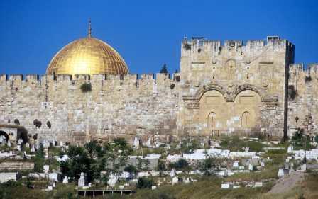 Israel,Jerusalén, Puerta de Oro y Cupula de la Roca