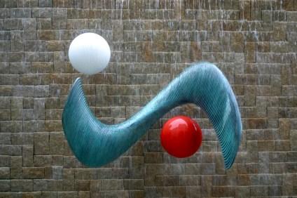Singapur, Ministerio Info, Comunicación, Arte, Logo Mita, escultura
