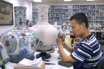 Singapur, Ming Village, artesano, porcelana dinastía Ming, retrato