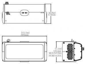 Dimensional drawing of Nemalux ZLM series modular, compact, high lumens industrial LED luminaire, IP66 and marine rated