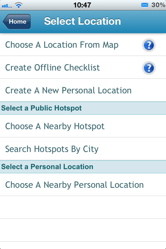 checklist location options