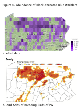 Figure 6. Comparison of abundance parts from eBird (a) and the 2nd Breeding Bird Atlas of Pennsylvania. (courtesy of Penn State University Press and eBird)