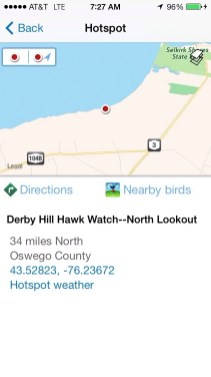 Direct links to driving directions and BirdsEye NA to see hotspot bird list