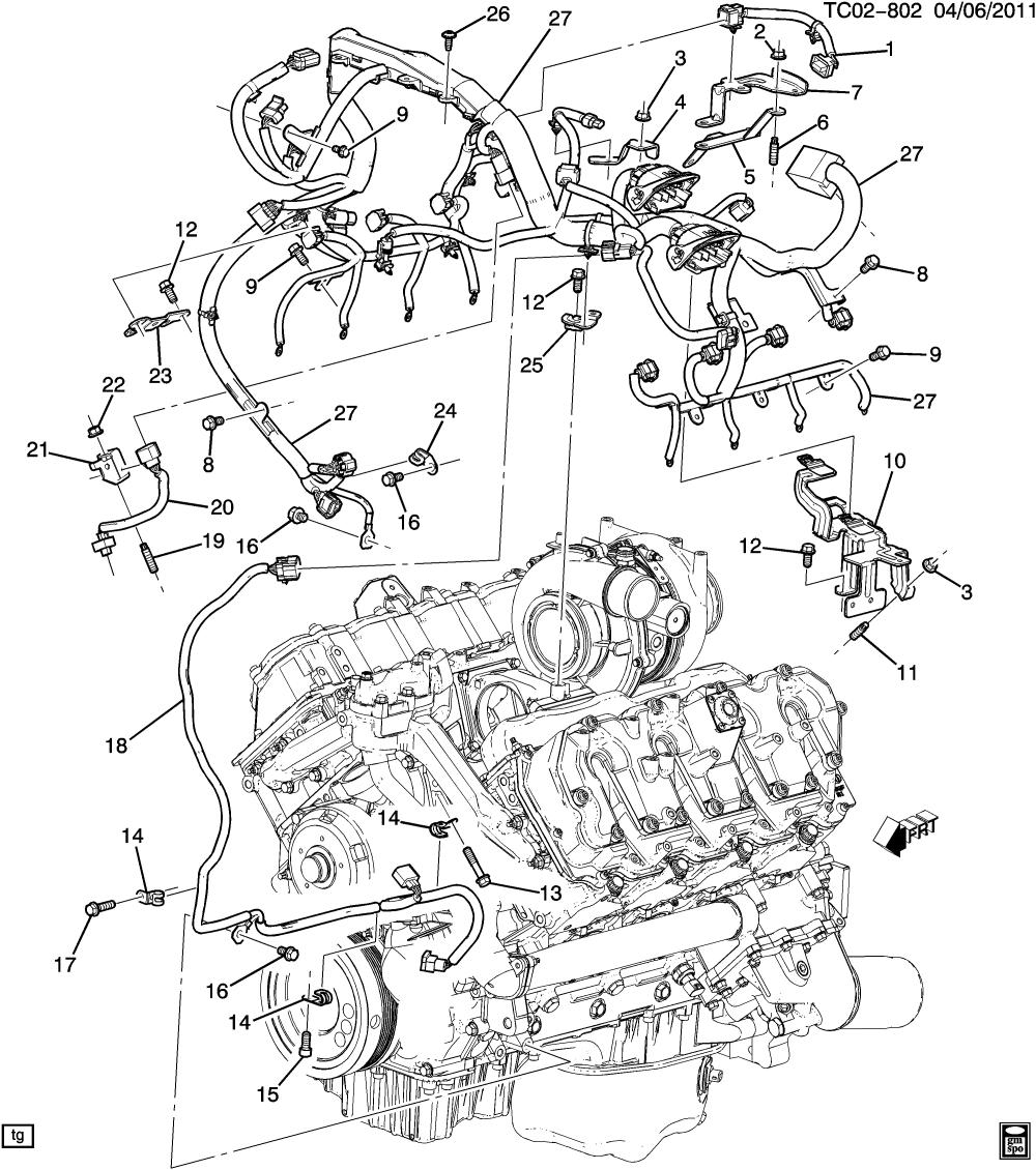 medium resolution of 279943 cadillac escalade esv awd ck2 3 wiring harness engine lbz