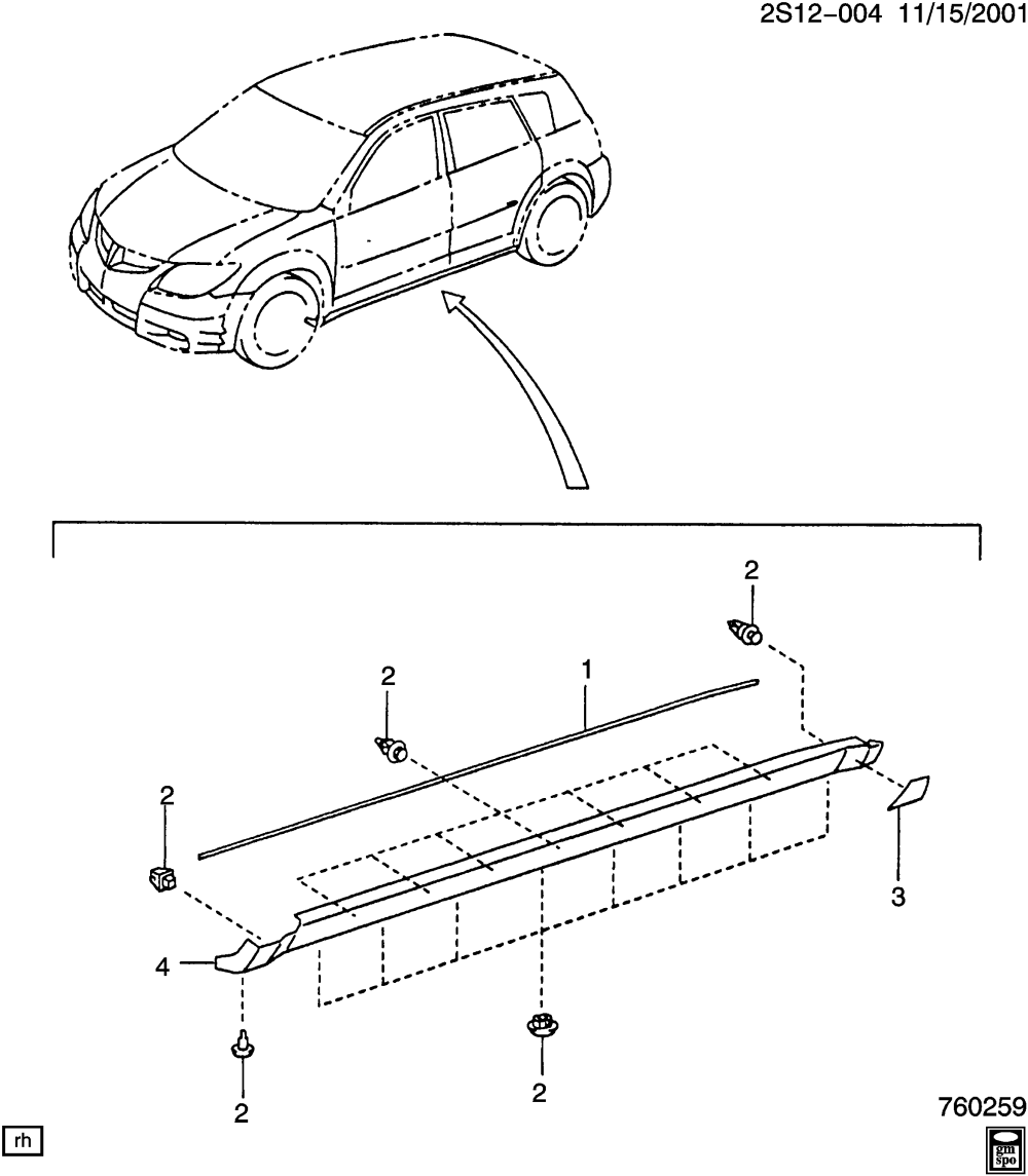 medium resolution of pontiac vibe s26 moldings body part 2 side rocker panel related pontiac vibe body parts diagram