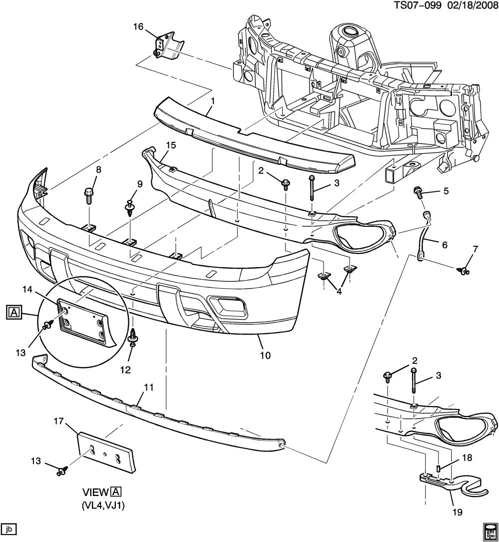 medium resolution of trailblazer front bumper diagram