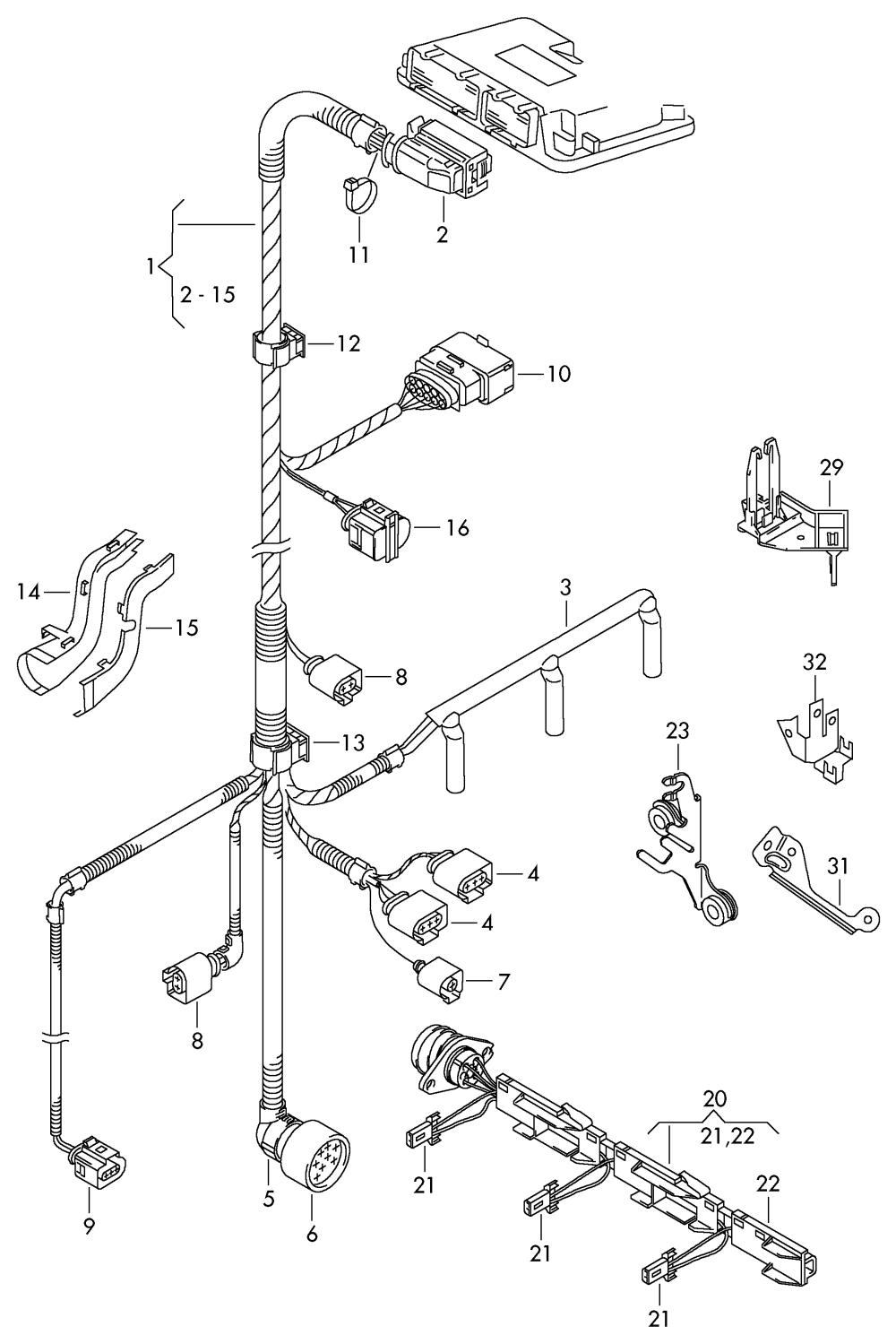 medium resolution of wiring set for engine skoda fabia 2000 2004 vag etka