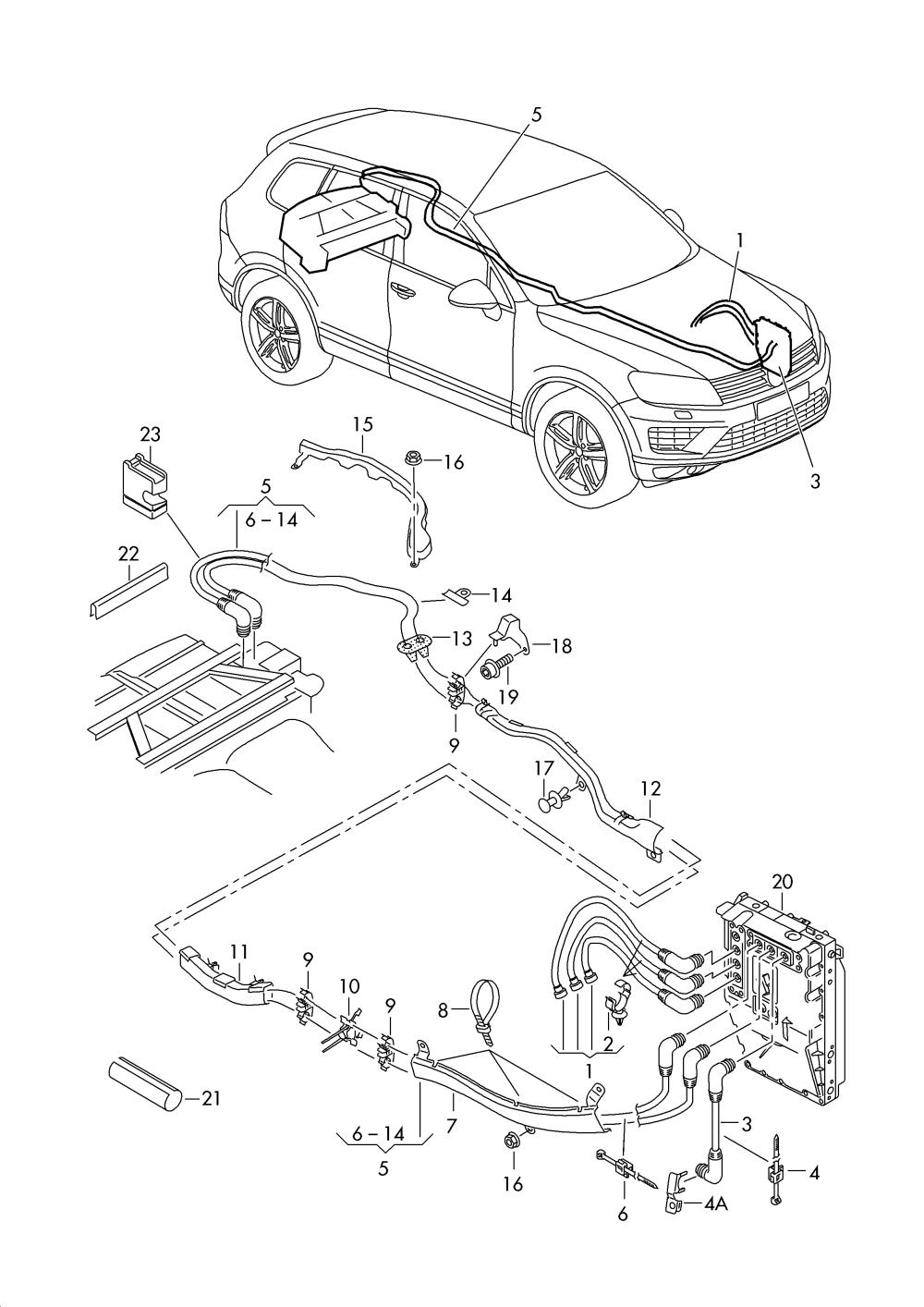 medium resolution of high voltage wiring set volkswagen touareg 2015 2017 vag etka