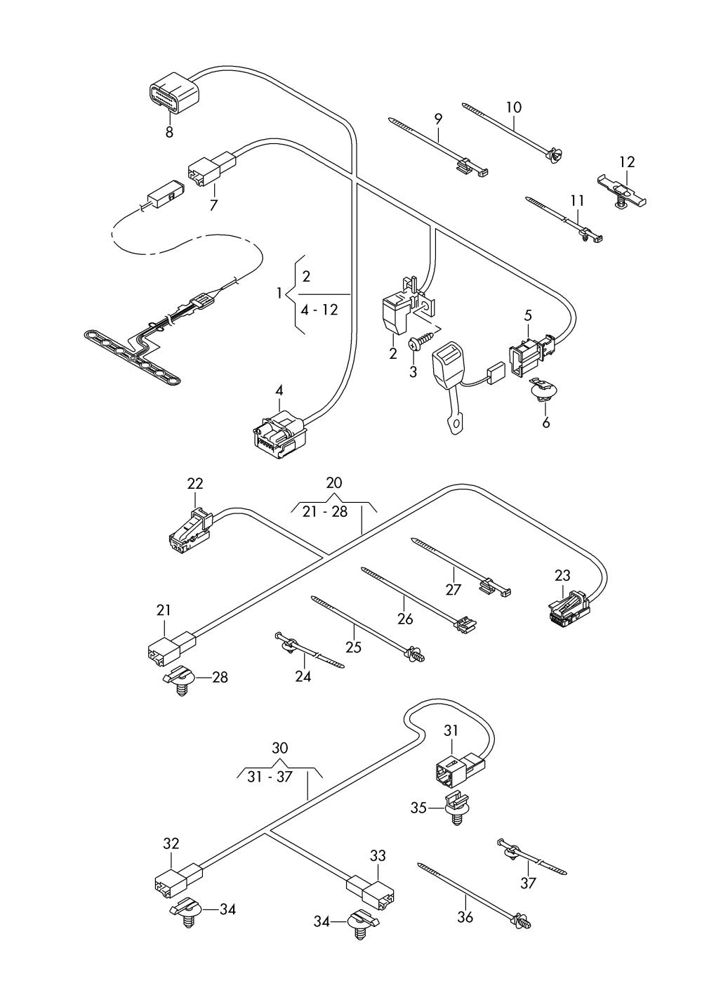 medium resolution of audi q7 2016 2017 wiring harness for seat belt warning systemaudi q7 wiring