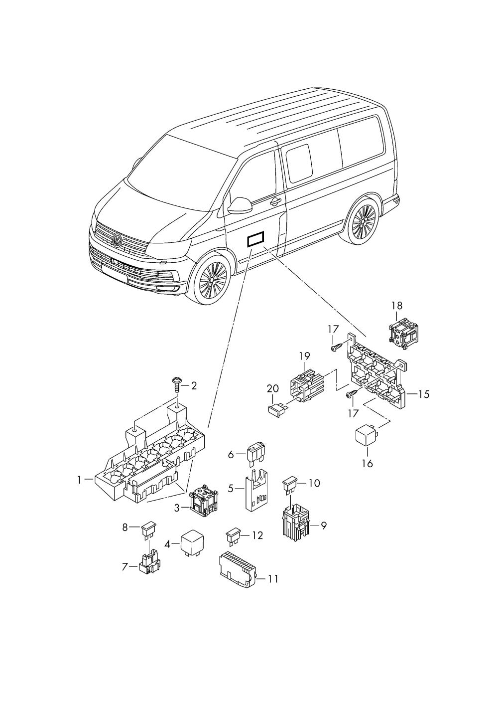 medium resolution of  fuse diagram 2005 volkswagen source volkswagen transporter kombi 2016 2017 relay relay plate