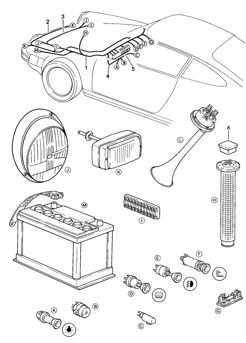 small resolution of  diagram porsche 911 1984 1986 front luge compartment wiring