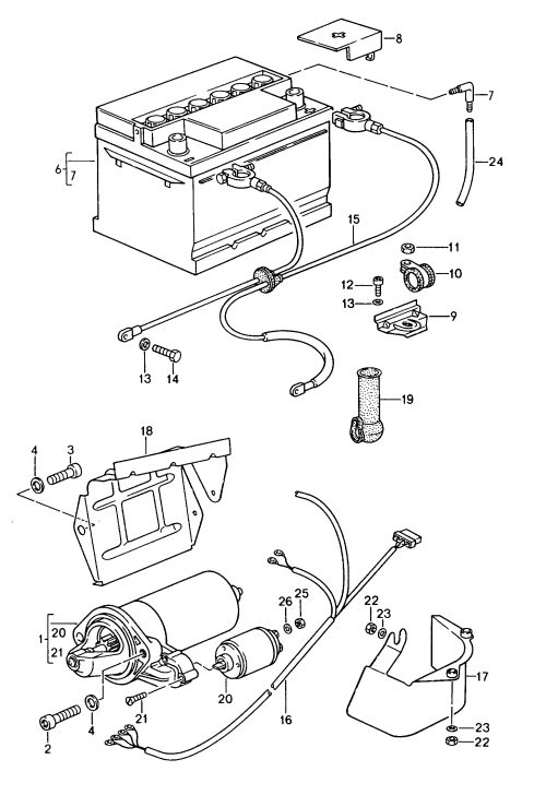 small resolution of porsche 944 1989 1991 starter battery wiring harnesses 1992 porsche 944 wiring diagram