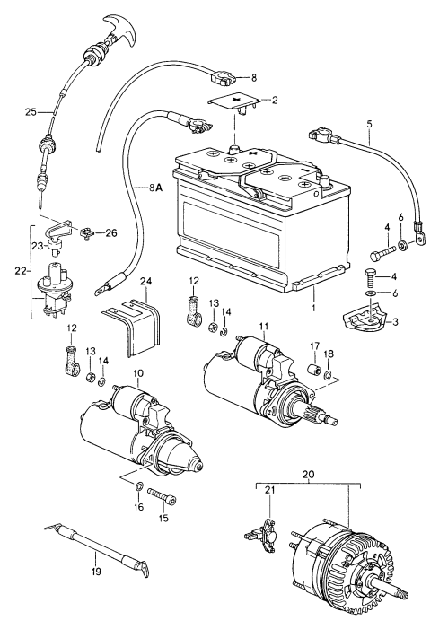 small resolution of porsche 911 carrera 1994 1998 battery starter generator porsche generator wiring