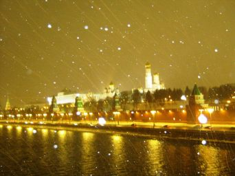 26.12.2016. Дежурство на Немцовском мемориале. Вид на Москва-реку и Кремль