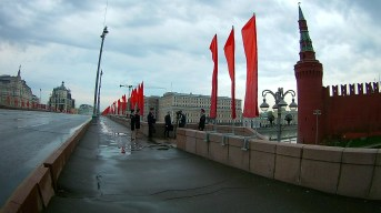 05.05.2018 Ночное дежурство на Мосту Немцова Съёмка идёт