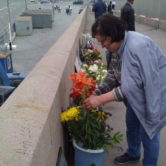 15.06.2019 Утреннее дежурство на Мосту Немцова. Цветы принесли. Надежда из Солидарности ставит цветы в воду.