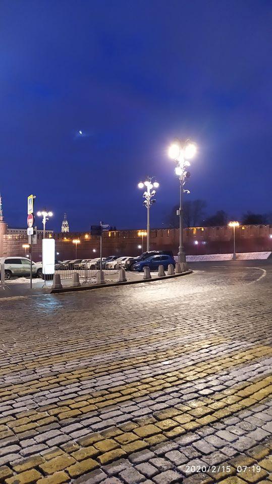 15.02.2020 Ночное дежурство на Мосту Немцова. На рассвете Луна