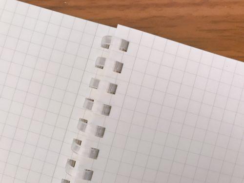 ソフトリングノートのリング部分アップ