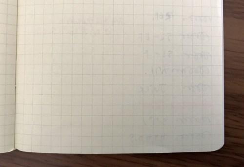 ロルバーン手帳万年筆テスト裏