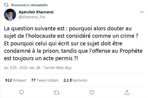 Irán újabb holokarikatúra-kiállítással teszteli Macron szólásszabadság iránti toleranciáját