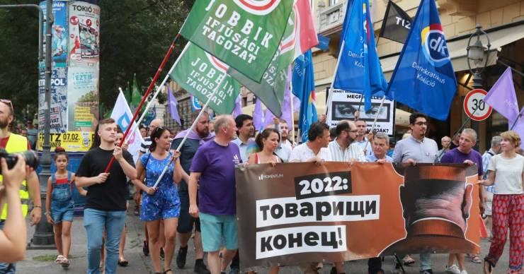 Pegasus-ügy: Közös tüntetésen tiltakozott az ellenzék a lehallgatási botrány miatt