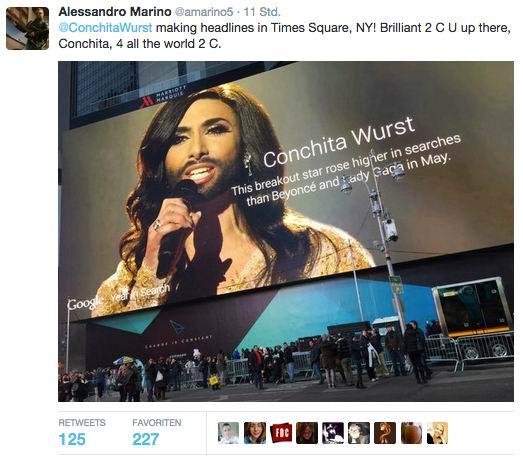 Conchita Wurst-óriásplakáttal terrorizálja a Google az amerikaiakat