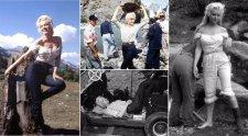 Ritka fotók Marilyn Monroe első westernfilmjének forgatásáról