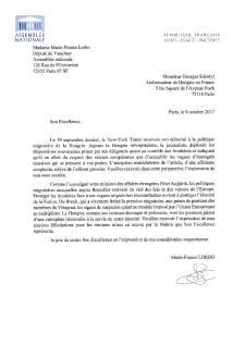 Francia parlamenti képviselőnek a magyar kormányt dicsérő levele Károlyi György párizsi nagykövetnek