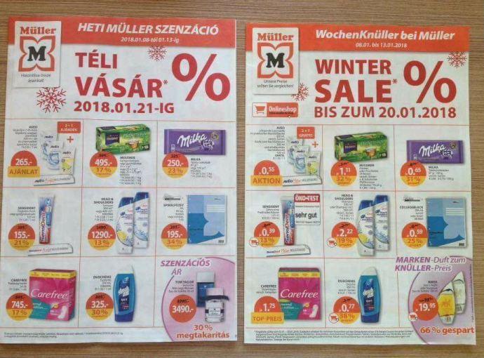 Müller akciós árai Ausztriában és Magyarországon – most