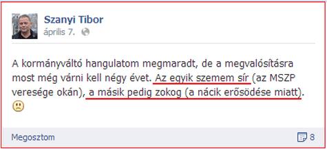 Szanyi egyik szeme sír, a másik zokog, Orbán pedig maga a náci sas