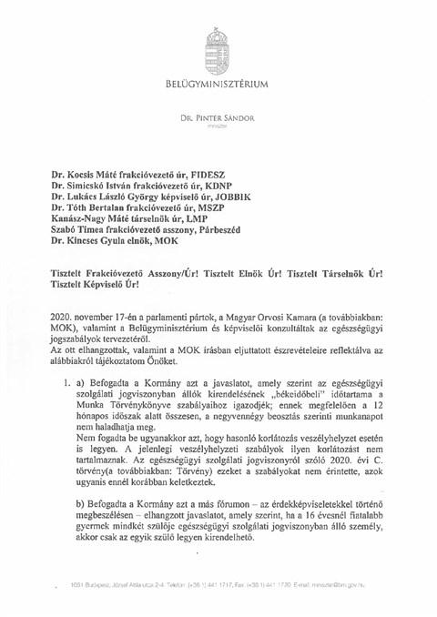"""Pintér Sándor levelét megírta: """"békeidőben"""" évi 44 munkanapra lesznek kirendelhetők az orvosok"""