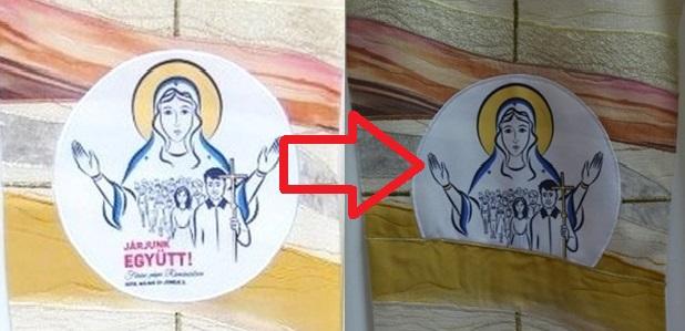 Letakartatták a magyar feliratot a pápa csíksomlyói miseruháján