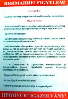 Donyeck: Magyarok! Ez nem a ti háborútok!
