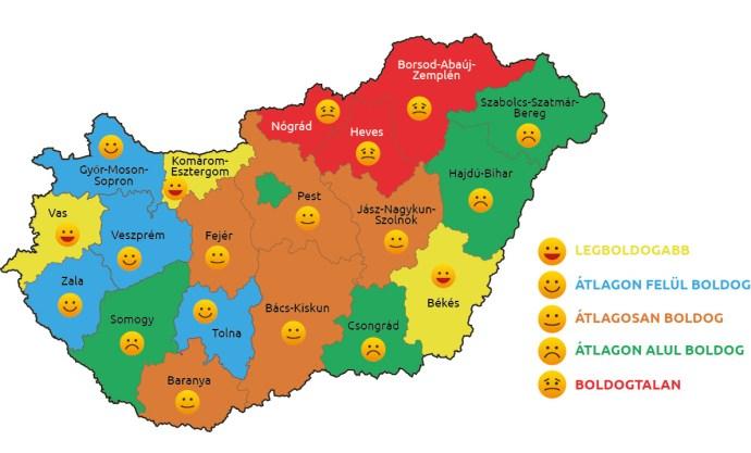 """Elkészítették az ország boldogságtérképét – beszédes az ábra, de a cigányfaktor hiányzik a """"jelmagyarázatból"""""""