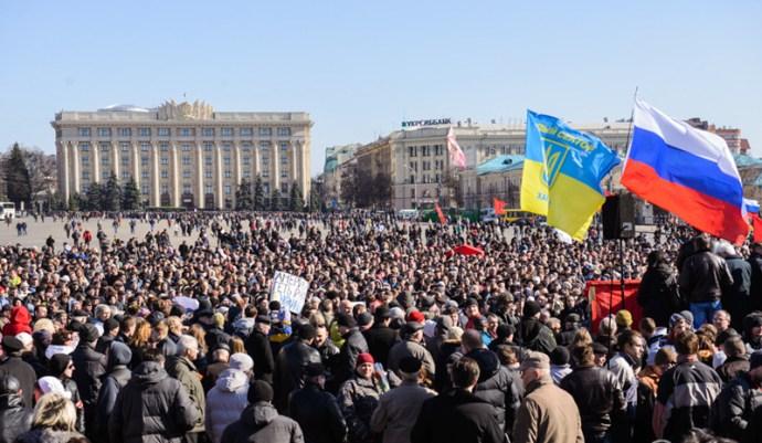 """Az ukrán Harkovban skandálják: """"Oroszország, segíts!"""""""