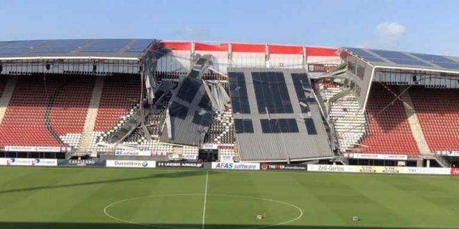 Egy stadion teteje szakadt le napelemes rendszerrel