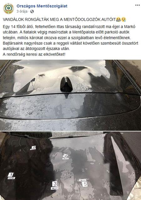 """Markó utcai bulika: mentősök autóinak tetején masírozott egy 14 tagú """"átszellemült"""" társaság"""