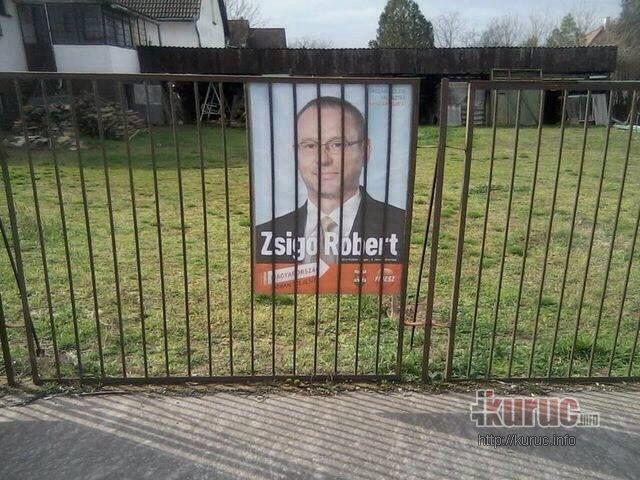 A Fidesz jelöltje, Zsigó Róbert rács mögött