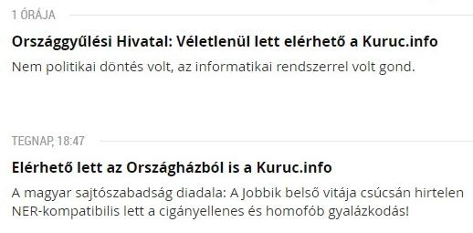 """Véletlenül elérhető lett az Országházból a Kuruc.info, """"jobbikos források"""" máris Fidesz-váddal illettek minket az Indexnél"""