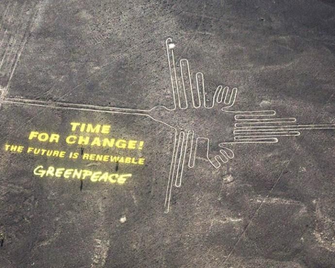 Belefirkált a Greenpeace a Nazca-vonalakba